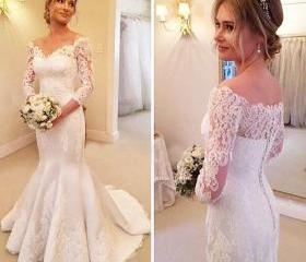 Lace Wedding Dress,Mermaid Wedding Dress,White/Ivory Bridal Gowns,Sweep train Wedding Gowns