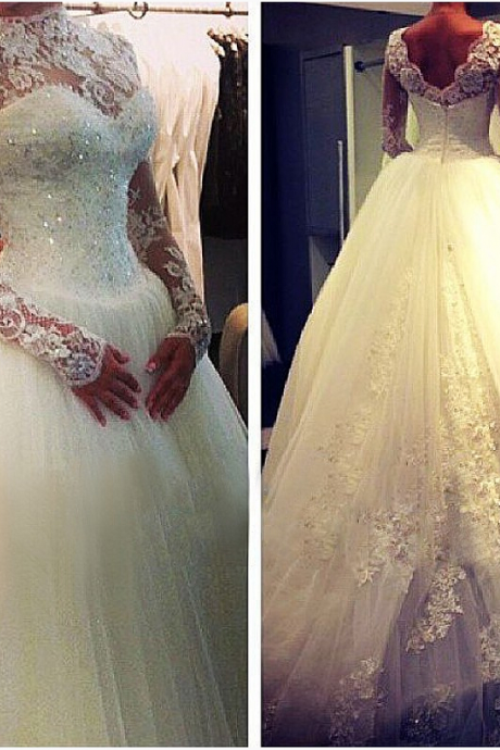 2015 New Vintage Lace Wedding Dress Handmade Formal Women Bridal Gowns White/Ivory Dress