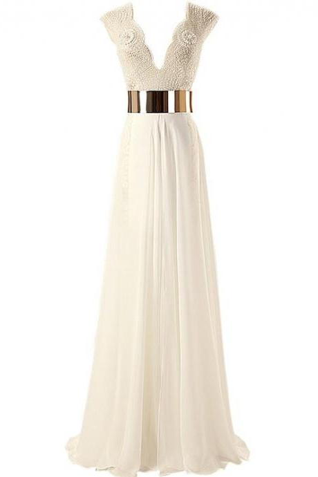 2015 New Wedding Dress ,White/Ivory Bridal Gowns Handmade Beading Chiffon Wedding Dress,Women's V-Neck Gold Belt Beading Prom Dresses A-line Evening Gown CJ64