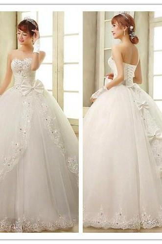 Sweetheart Wedding Dress,2015 New Wedding Dress,Crystal/Beading Custom Tulle Ball Gown Wedding Dress,Lace Up Back Bridal Dress,Ivory Wedding Dress,White Wedding Dress