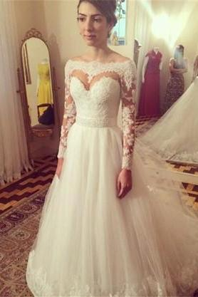 2016 New Elegant Wedding Dress,Long Sleeves Custom Made Tulle Bridal Gowns,White/Ivory Wedding Gowns