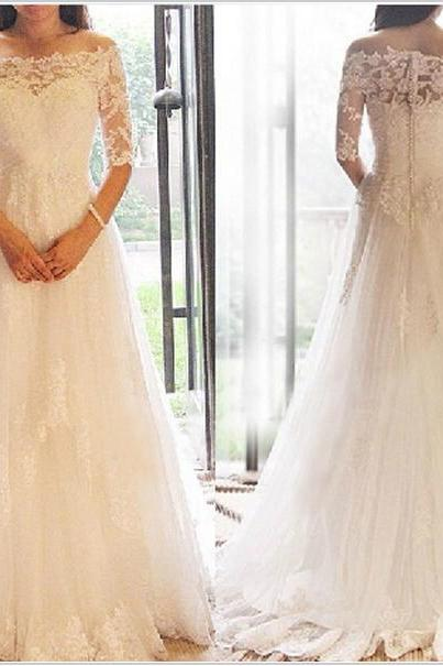 2016 New White/Ivory Wedding Dress,Custom Made Lace Bridal Gowns,Long Sleeves Elegant Wedding Gowns